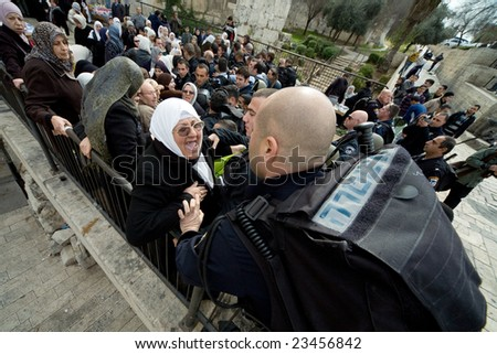 Jerusalem - JANUARY 16: Demonstration against war in Gaza strip on January 16, 2009 at Old City, Jerusalem, Israel. - stock photo
