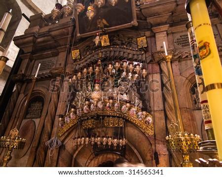 JERUSALEM - Juli 13: Greek Chapel of the Church of Holy Sepulchre in Jerusalem, Israel Juli 13, 2015. - stock photo