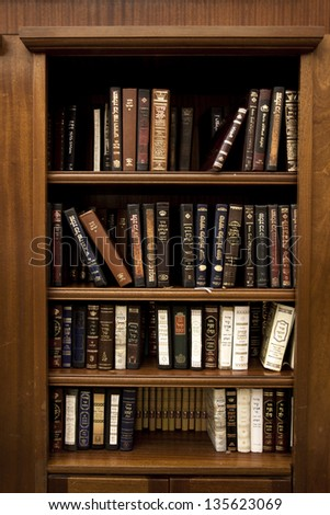 JERUSALEM - MAY 21: A library of holy Jewish scripture,located inside the caves of the Wailing Wall on May 21 2010 in Jerusalem, Israel. - stock photo