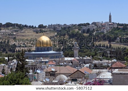 Jerusalem.Mosque of Omar(gold cupola) on the Temple Mount.
