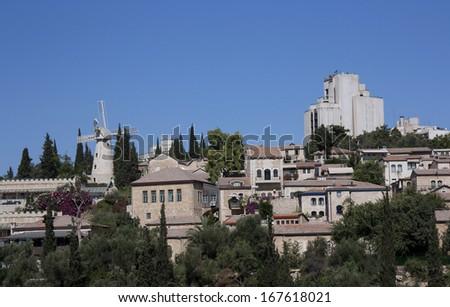 Jerusalem Neighborhood of Yemin Moshe and Mishkenot Shaananim - stock photo