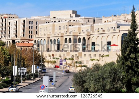 JERUSALEM - NOV 12:General view of  Mamilla shopping mall on November 12 2008 in Jerusalem, Israel.It's a popular open air shopping mall with restaurants, hotels, cafes and fashion stores. - stock photo