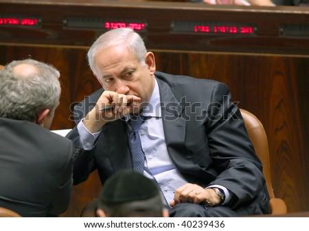 JERUSALEM - NOV. 2: Prime Minister of Israel, Benjamin Netanyahu, in the Conference Room of the Israeli parliament (Knesset) November 2, 2009 in Jerusalem, Israel. - stock photo