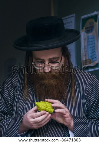 "JERUSALEM - OCT 10 : Ultra-Orthodox Jewish man inspect the ""Etrog"" in a market in Jerusalem on October 10 2011, ""Etrog"" is one of four species used during the Jewish celebration of ""Sukkot"" - stock photo"