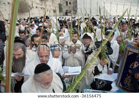 JERUSALEM - OCTOBER 16: Jews in prayer at the Western Wall during Jewish holiday of Sukkot October 16, 2008 in Jerusalem, Israel. - stock photo