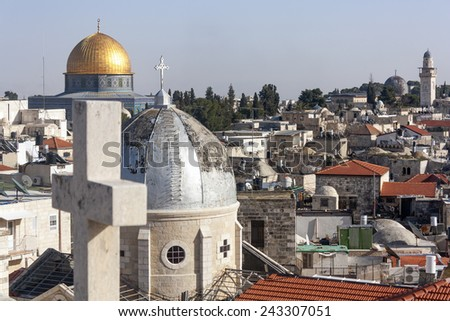Jerusalem Old City: Church and Dome of the Rock - stock photo