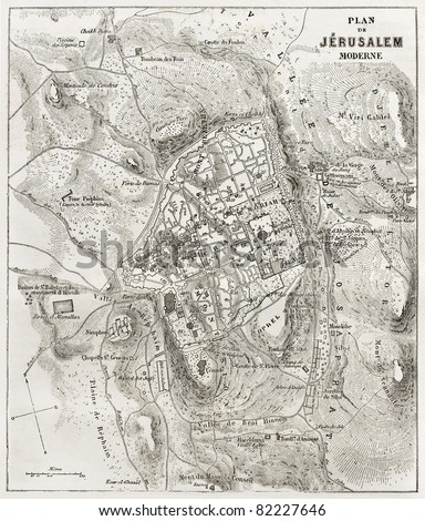 Jerusalem old map. Created by Villemin after Gerardy, published on Le Tour du Monde, Paris, 1860 - stock photo
