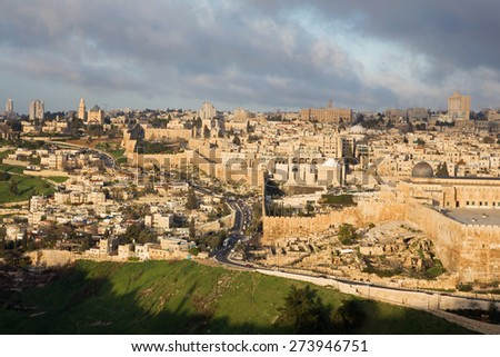 Jerusalem - Outlook from Mount of Olives to Dormition abbey and south part of town walls in morning light - stock photo