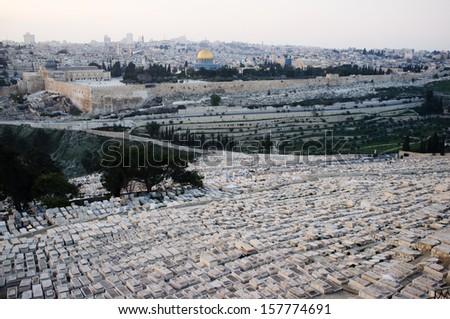 Jerusalem overview from mountain of Olives, Israel
