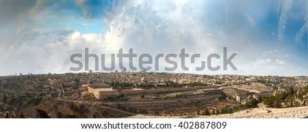 jerusalem, panorama, holy land, ground, sacred, israel - stock photo