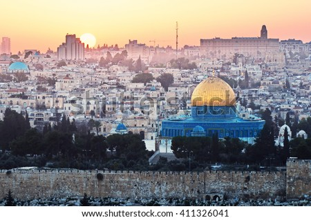 Jerusalem panorama view over the City at sunset - stock photo