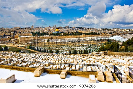 Jerusalem panorama with rare snow - stock photo
