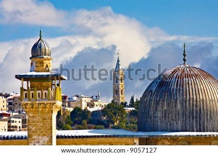 Jerusalem religious landmarks under rare snow (Dome of the rock) - stock photo