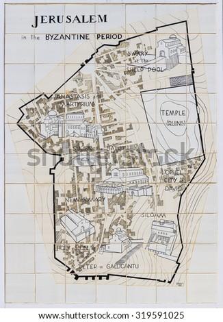 JERUSALEM - 24 SEPTEMBER :Old plan of Jerusalem in Jerusalem, September 24 2014  - stock photo