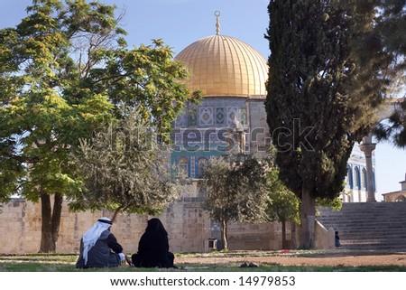 Jerusalem Skyline with Dome of the Rock. - stock photo