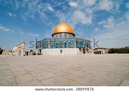 Jerusalem - The dome of the rock a a beautiful sunny day before friday prayers. - stock photo