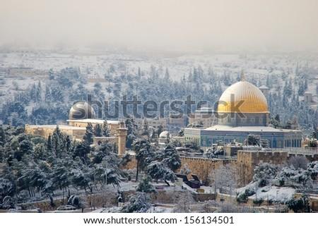 Jerusalem under the snow - stock photo
