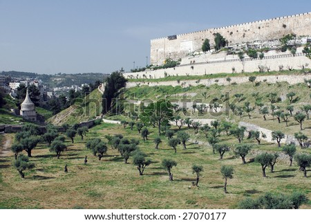 Jerusalem, view from the Mount of Olives - stock photo