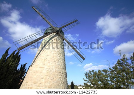 Jerusalem Windmill in Yemin Moshe - stock photo