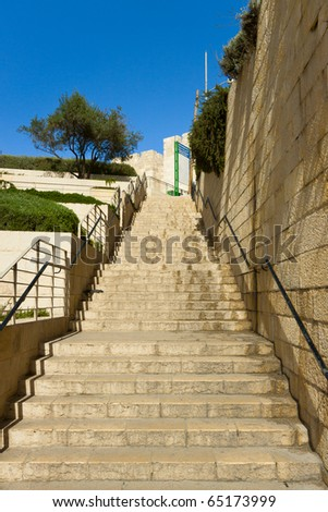 Jerusalems staircase ascend to the blue sky - stock photo