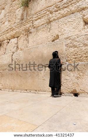 jerusalm orthodox praying in jerusalem - stock photo