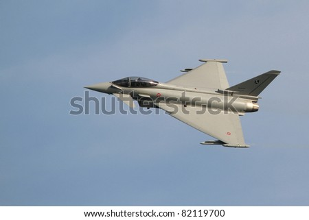 JESOLO, ITALY - JUNE 11: Eurofighter Typhoon on the Jesolo airshow, Italy, June 11, 2011