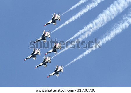 JESOLO, ITALY - JUNE 11: US Air Force Thunderbirds aerobatic team at the Jesolo airshow, Italy, June 11, 2011