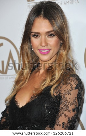 Jessica Alba at the 2013 Producers Guild Awards at the Beverly Hilton Hotel. January 26, 2013  Los Angeles, CA Picture: Paul Smith - stock photo