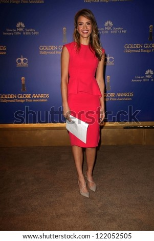 Jessica Alba at the 70th Annual Golden Globe Awards Nominations Announcement,  Beverly Hilton, Beverly Hills, CA 12-13-12 - stock photo