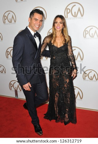 Jessica Alba & husband Cash Warren at the 2013 Producers Guild Awards at the Beverly Hilton Hotel. January 26, 2013  Los Angeles, CA Picture: Paul Smith - stock photo