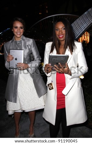 """Jessica Alba, Jennifer Hudson at the """"Let It Sparkle"""" Rodeo Drive Lighting Ceremony, Rodeo Drive, Beverly Hills, CA 11-21-11 - stock photo"""