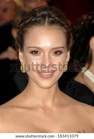 Jessica Alba, wearing Cartier earrings, at RED CARPET - 80th Annual Academy Awards Oscars Ceremony, The Kodak Theatre, Los Angeles, CA, February 24, 2008  - stock photo