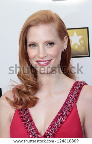 Jessica Chastain at the 18th Annual Critics' Choice Movie Awards Arrivals, Barker Hangar, Santa Monica, CA 01-10-13