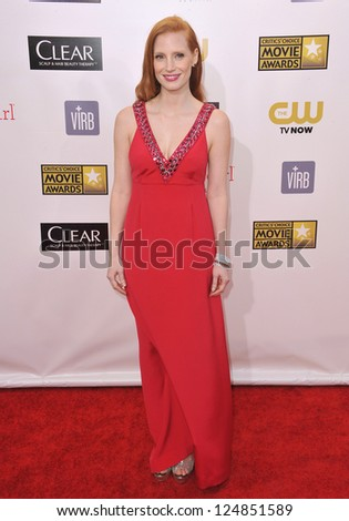 Jessica Chastain at the 18th Annual Critics' Choice Movie Awards at Barker Hanger, Santa Monica Airport. January 10, 2013  Santa Monica, CA Picture: Paul Smith