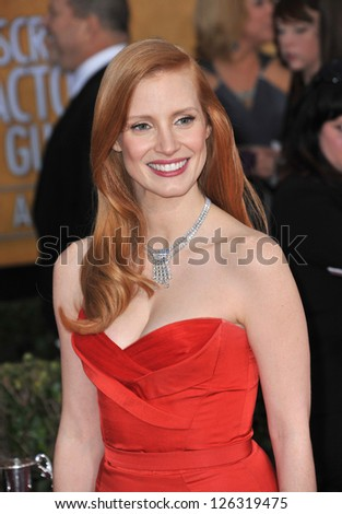 Jessica Chastain at the 19th Annual Screen Actors Guild Awards at the Shrine Auditorium, Los Angeles. January 27, 2013  Los Angeles, CA Picture: Paul Smith - stock photo