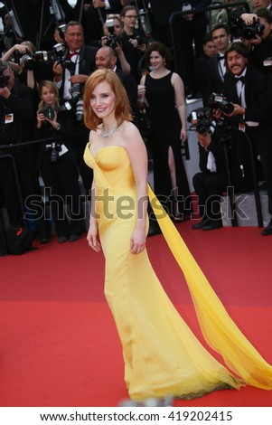 Jessica Chastain attends the 'Cafe Society' premiere and the Opening Night Gala during the 69th Cannes Film Festival at the Palais des Festivals on May 11, 2016 in Cannes, France. - stock photo