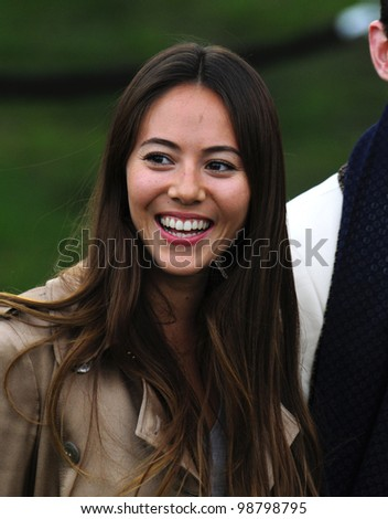 Jessica Michibata arriving for the Burberry Prorsum fashion show as part of London Fashion Week 2012 A/W in Kensington Gardens, London. 20/02/2012 Picture by: Simon Burchell / Featureflash