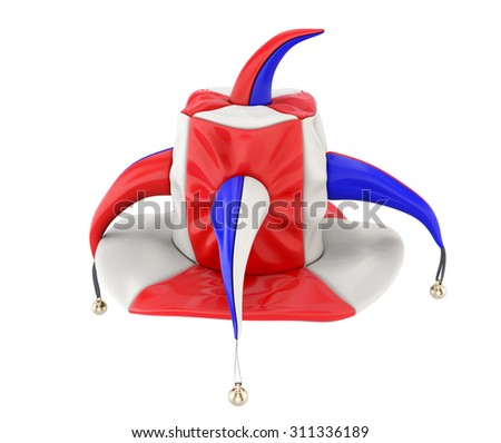 Jester hat isolated on white background. 3d illustration. - stock photo