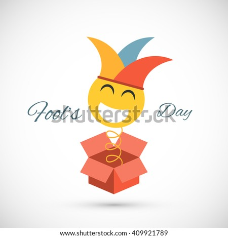 Jester springing out of a box. Fools day illustration - stock photo
