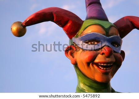 Jester statue face - stock photo