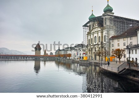 Jesuit Church and The Reuss River, City of Luzern, Switzerland