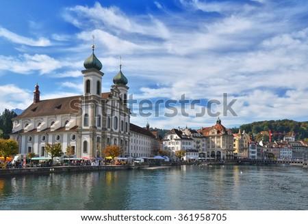 Jesuit church in Luzern, Switzerland - stock photo