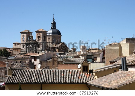 Jesuit Church in Toledo - towering above the old cityscape. Spain, Europe.