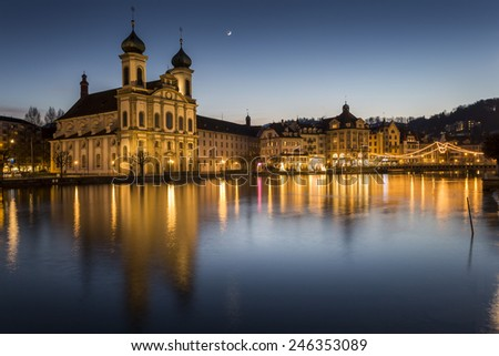 Jesuit Church (Jesuitenkirche) at night in Lucerne - stock photo