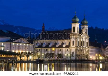 Jesuit church - Luzern, Switzerland - stock photo