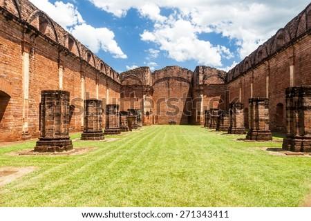 Jesuit mission ruins in Jesus de Tavarangue, Paraguay - stock photo