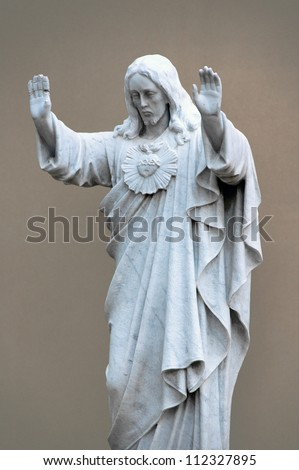 Jesus blessing with a broken hand, traditional image over 100 years old.
