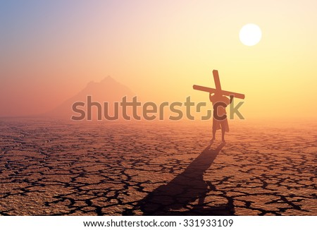 Jesus carries the cross in the desert