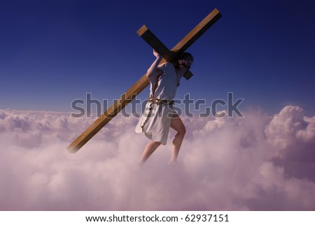 Jesus carries the cross in the sky. - stock photo