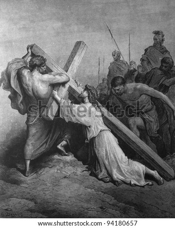 Jesus carries the heavy cross. 1) Le Sainte Bible: Traduction nouvelle selon la Vulgate par Mm. J.-J. Bourasse et P. Janvier. Tours: Alfred Mame et Fils. 2) 1866 3) France 4) Gustave Doré - stock photo